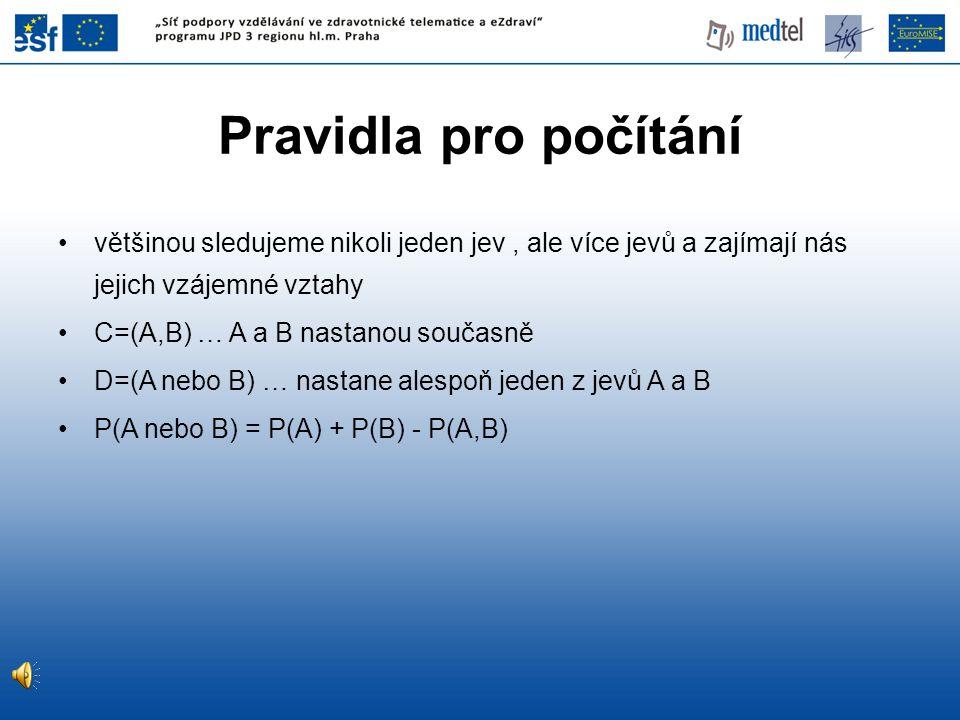 SENSITIVITA (SE) je pravděpodobnost P (T + | D + ) pozitivního výsledku testu u nemocné osoby SPECIFICITA (SP) je pravděpodobnost P(T - | D - ) negativního výsledku testu u osoby bez nemoci SP = d / (b + d) SE = a / (a + c) Sensitivita a specificita