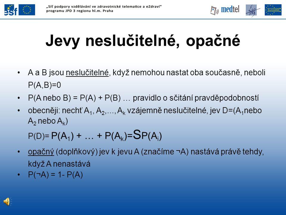 NESPRÁVNÁ NEGATIVITA (FN) je pravděpodobnost P(T - | D + ) negativního výsledku testu u nemocných NESPRÁVNÁ POZITIVITA (FP) je pravděpodobnost P(T + | D - ) pozitivního výsledku testu u osob bez nemoci FN = c / (a + c) FP = b / (b + d) Nesprávná negativita a Nesprávná pozitivita
