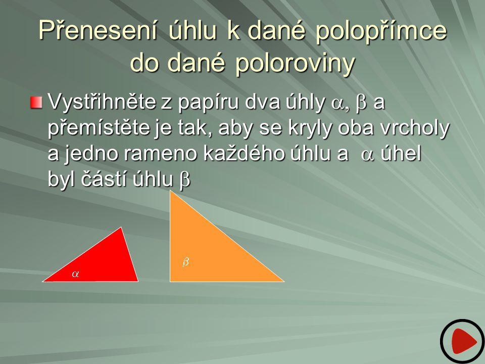 Přenesení úhlu k dané polopřímce do dané poloroviny Vystřihněte z papíru dva úhly  a přemístěte je tak, aby se kryly oba vrcholy a jedno rameno ka