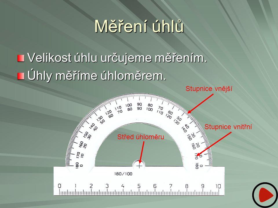 Měření úhlů Velikost úhlu určujeme měřením. Úhly měříme úhloměrem. Stupnice vnější Stupnice vnitřní Střed úhloměru