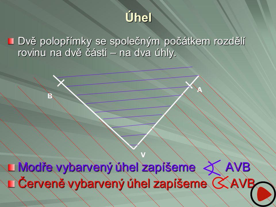 Úhel Dvě polopřímky se společným počátkem rozdělí rovinu na dvě části – na dva úhly. Modře vybarvený úhel zapíšeme AVB Červeně vybarvený úhel zapíšeme