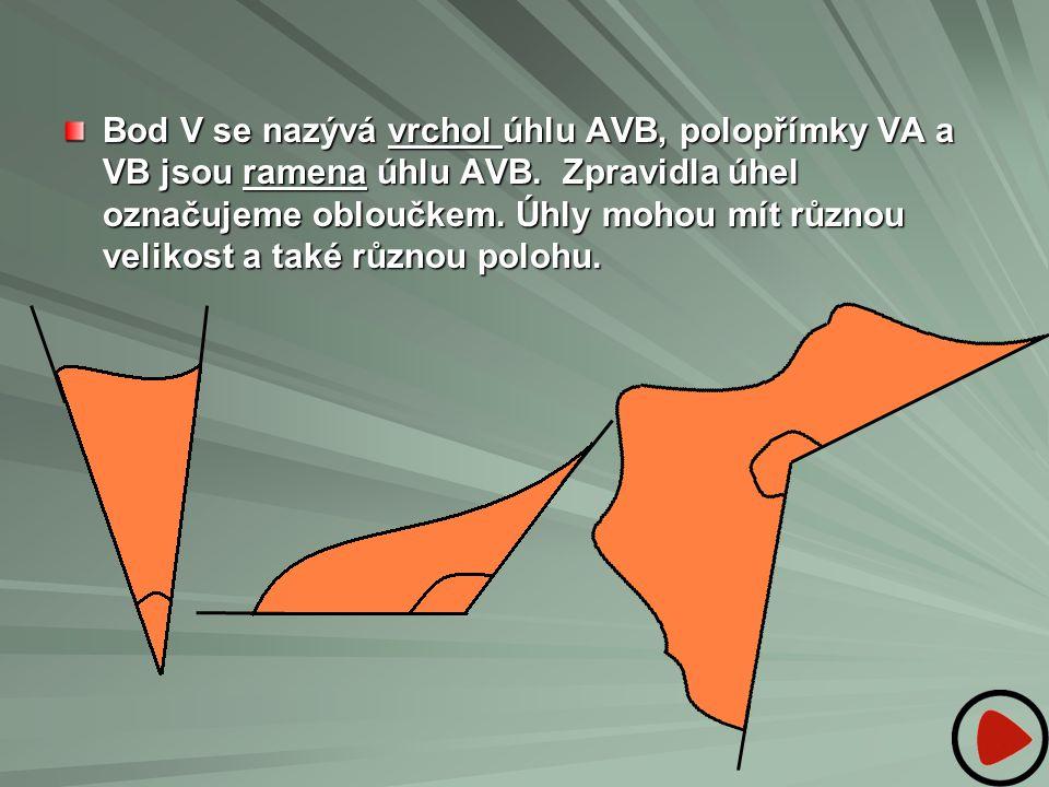 Bod V se nazývá vrchol úhlu AVB, polopřímky VA a VB jsou ramena úhlu AVB. Zpravidla úhel označujeme obloučkem. Úhly mohou mít různou velikost a také r