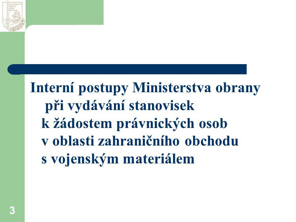 3 Interní postupy Ministerstva obrany při vydávání stanovisek k žádostem právnických osob v oblasti zahraničního obchodu s vojenským materiálem