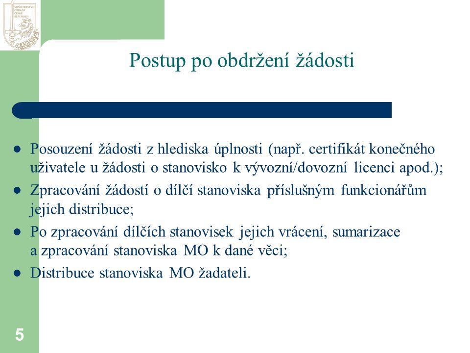 5 Postup po obdržení žádosti  Posouzení žádosti z hlediska úplnosti (např.