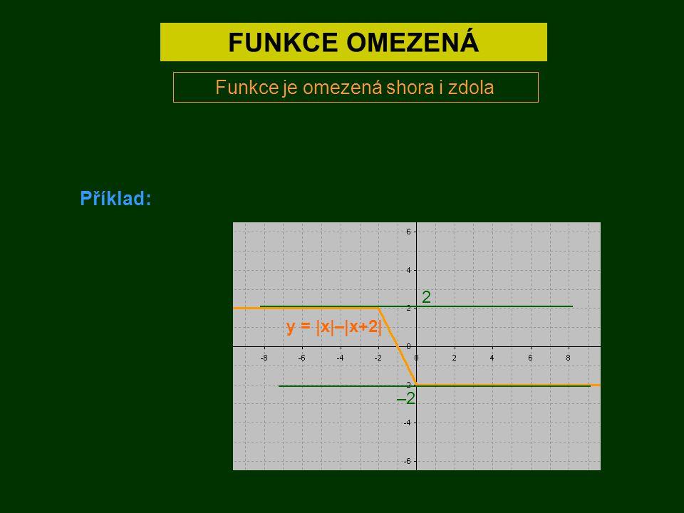 FUNKCE OMEZENÁ Funkce je omezená shora i zdola Příklad: –2 2 y = |x|–|x+2|