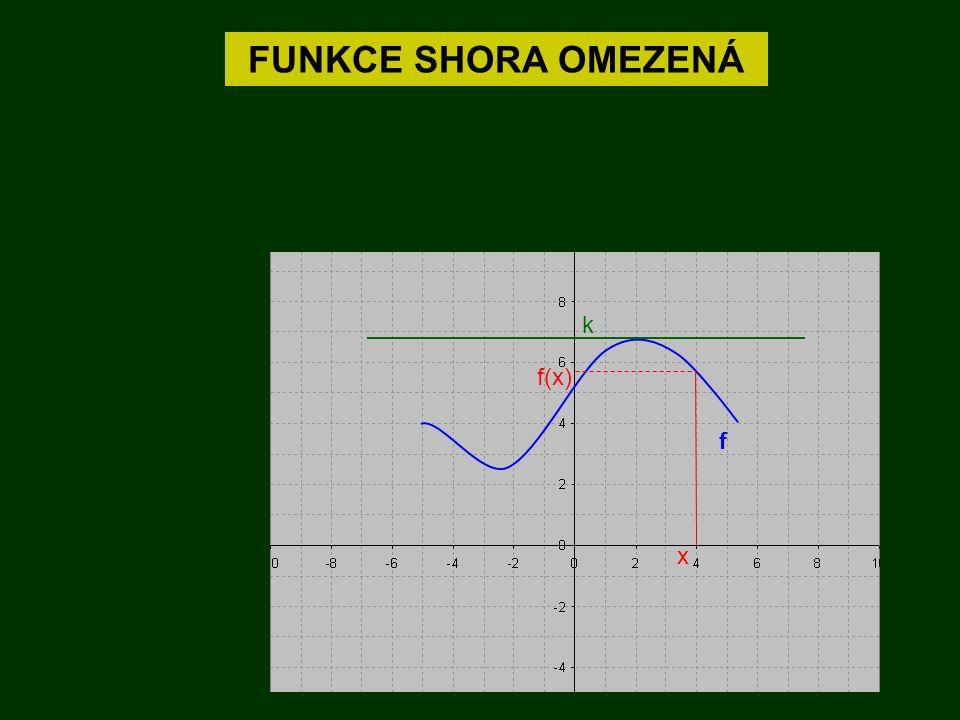 FUNKCE SHORA OMEZENÁ f k x f(x) Existuje takové číslo k, že pro libovolné x z definičního oboru platí : f(x)  k