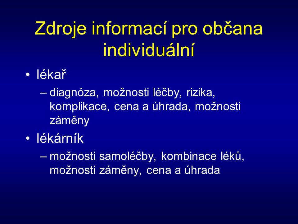 Zdroje informací pro občana obecné •výrobce –účinky léku, nežádoucí účinky •pojišťovna –ceny a úhrada •Internet –vlastnosti léků –možnost záměny –ceny
