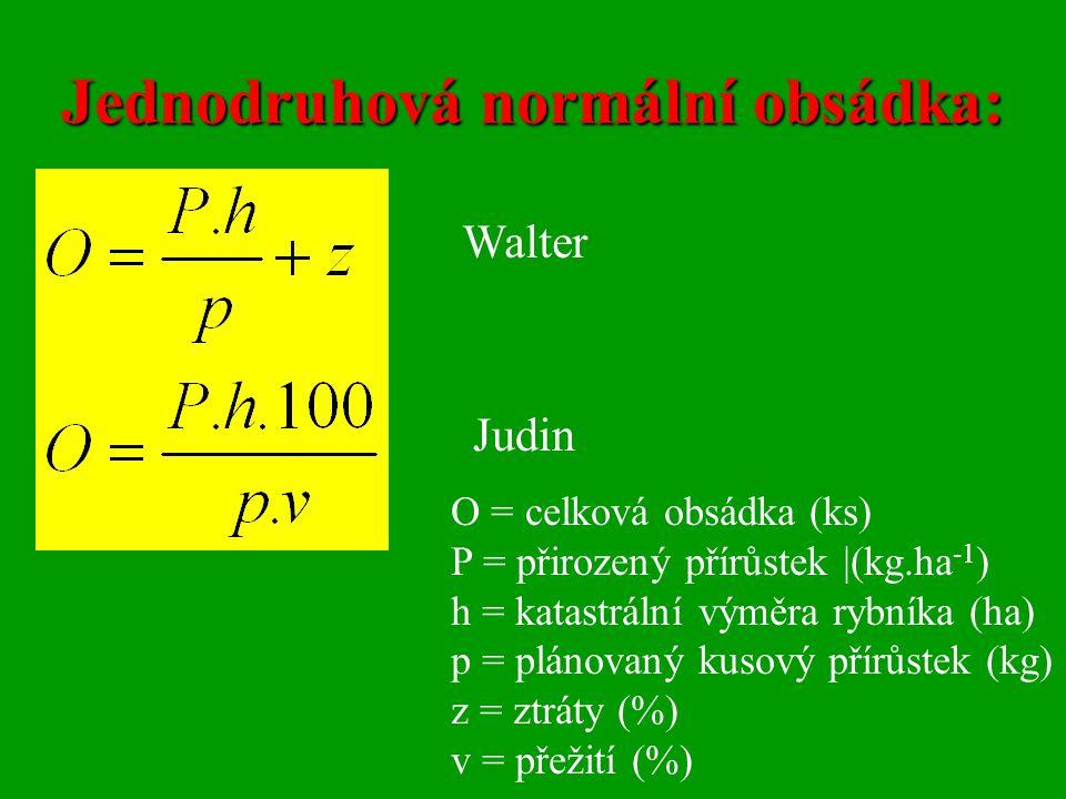 Jednodruhová normální obsádka: Walter Judin O = celková obsádka (ks) P = přirozený přírůstek |(kg.ha -1 ) h = katastrální výměra rybníka (ha) p = plán