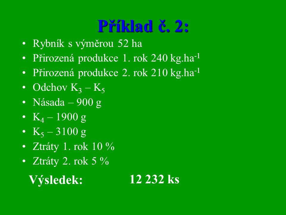 Příklad č. 2: •Rybník s výměrou 52 ha •Přirozená produkce 1. rok 240 kg.ha -1 •Přirozená produkce 2. rok 210 kg.ha -1 •Odchov K 3 – K 5 •Násada – 900