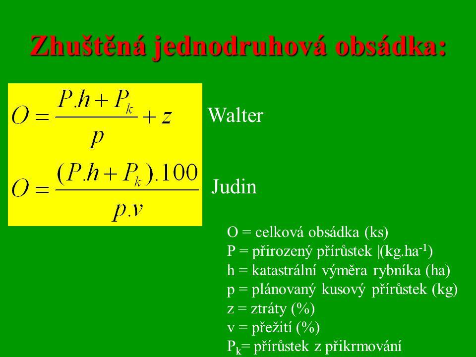 Zhuštěná jednodruhová obsádka: Walter Judin O = celková obsádka (ks) P = přirozený přírůstek |(kg.ha -1 ) h = katastrální výměra rybníka (ha) p = plán