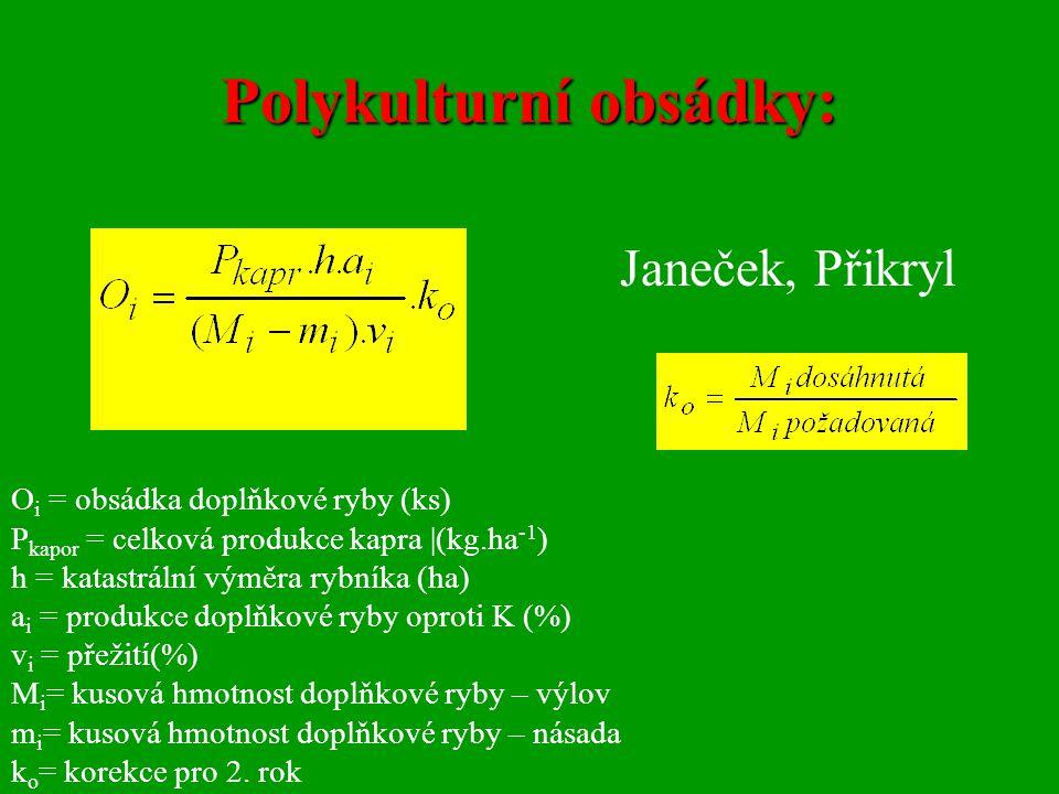 Polykulturní obsádky: O i = obsádka doplňkové ryby (ks) P kapor = celková produkce kapra |(kg.ha -1 ) h = katastrální výměra rybníka (ha) a i = produk