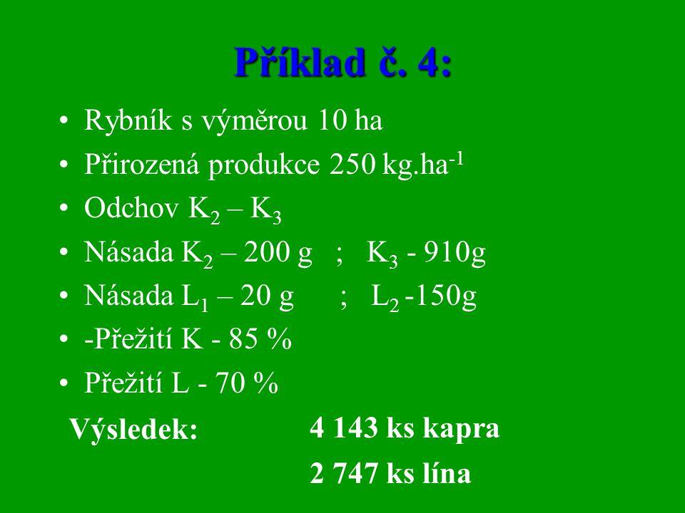 Příklad č. 4: •Rybník s výměrou 10 ha •Přirozená produkce 250 kg.ha -1 •Odchov K 2 – K 3 •Násada K 2 – 200 g ; K 3 - 910g •Násada L 1 – 20 g ; L 2 -15