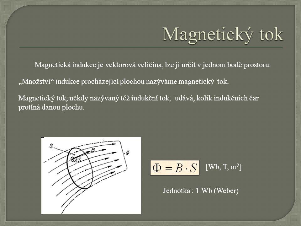 Magnetický tok, někdy nazývaný též indukční tok, udává, kolik indukčních čar protíná danou plochu. Jednotka : 1 Wb (Weber) [Wb; T, m 2 ] Magnetická in