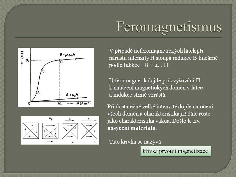 V případě neferomagnetických látek při nárustu intenzity H stoupá indukce B lineárně podle fukkce B = μ o. H U feromagnetik dojde při zvyšování H k na