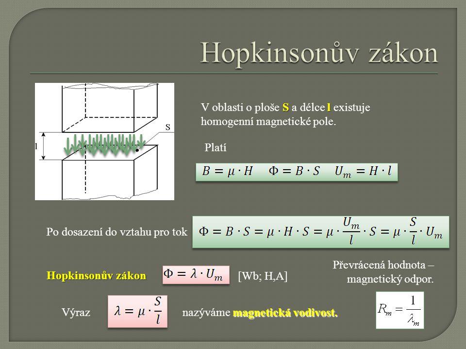 Sl V oblasti o ploše S a délce l existuje homogenní magnetické pole. Platí Po dosazení do vztahu pro tok Hopkinsonův zákon magnetická vodivost. nazývá