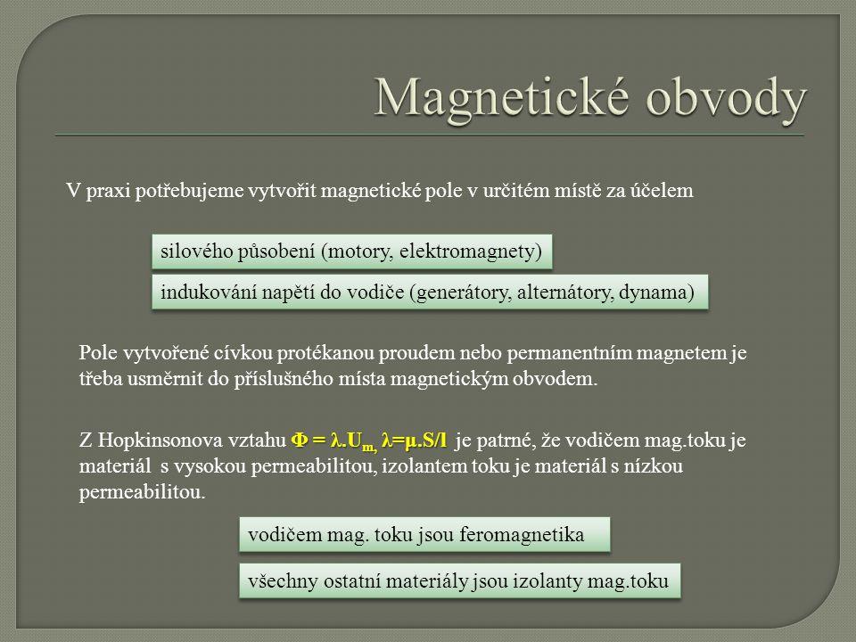 V praxi potřebujeme vytvořit magnetické pole v určitém místě za účelem silového působení (motory, elektromagnety) indukování napětí do vodiče (generátory, alternátory, dynama) Pole vytvořené cívkou protékanou proudem nebo permanentním magnetem je třeba usměrnit do příslušného místa magnetickým obvodem.
