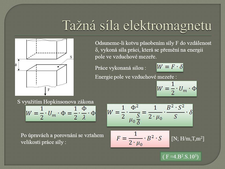 Odsuneme-li kotvu působením síly F do vzdálenost δ, vykoná síla práci, která se přemění na energii pole ve vzduchové mezeře. Práce vykonaná silou : En