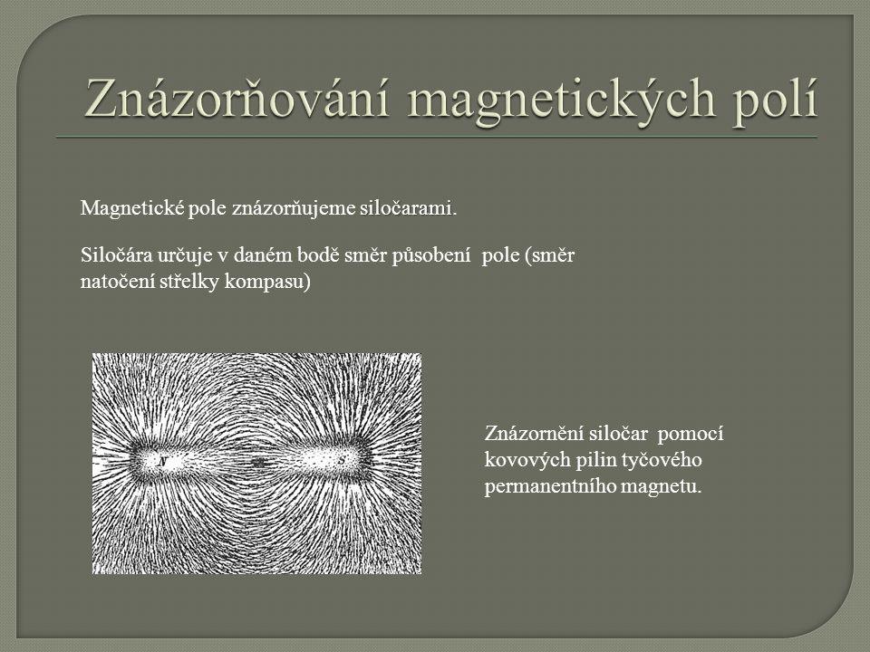 siločarami Magnetické pole znázorňujeme siločarami. Siločára určuje v daném bodě směr působení pole (směr natočení střelky kompasu) Znázornění siločar