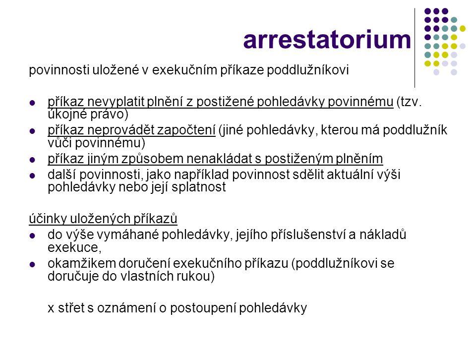 arrestatorium povinnosti uložené v exekučním příkaze poddlužníkovi  příkaz nevyplatit plnění z postižené pohledávky povinnému (tzv. úkojné právo)  p