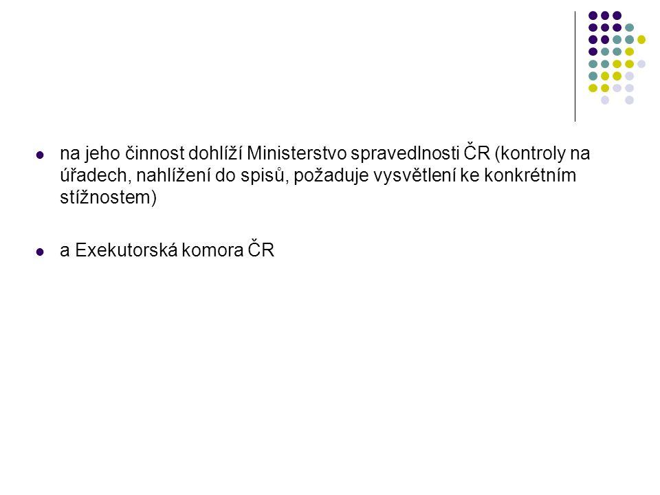  na jeho činnost dohlíží Ministerstvo spravedlnosti ČR (kontroly na úřadech, nahlížení do spisů, požaduje vysvětlení ke konkrétním stížnostem)  a Ex