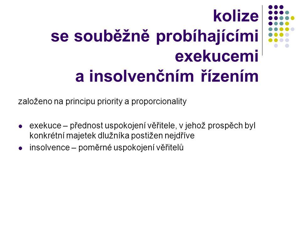kolize se souběžně probíhajícími exekucemi a insolvenčním řízením založeno na principu priority a proporcionality  exekuce – přednost uspokojení věři