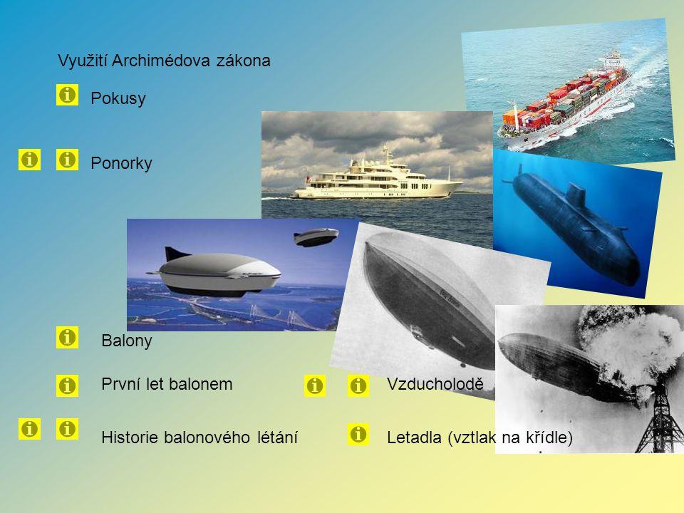 Využití Archimédova zákona Pokusy Balony První let balonem Letadla (vztlak na křídle)Historie balonového létání Vzducholodě Ponorky