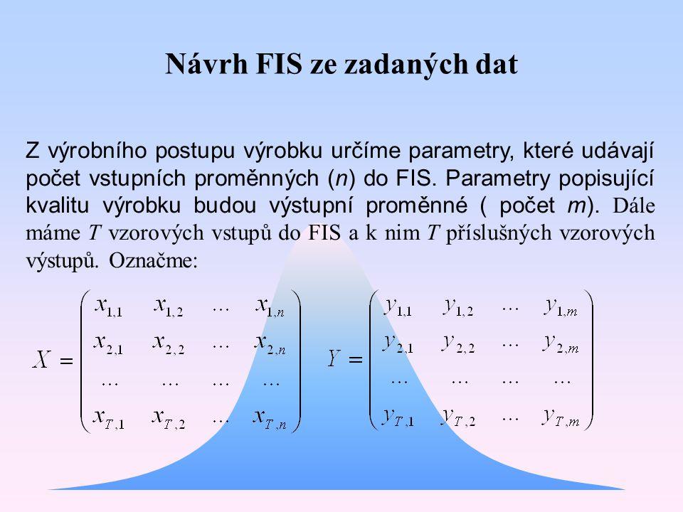 Návrh FIS ze zadaných dat Z výrobního postupu výrobku určíme parametry, které udávají počet vstupních proměnných (n) do FIS. Parametry popisující kval
