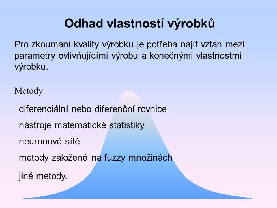 Pro zkoumání kvality výrobku je potřeba najít vztah mezi parametry ovlivňujícími výrobu a konečnými vlastnostmi výrobku. Metody: diferenciální nebo di