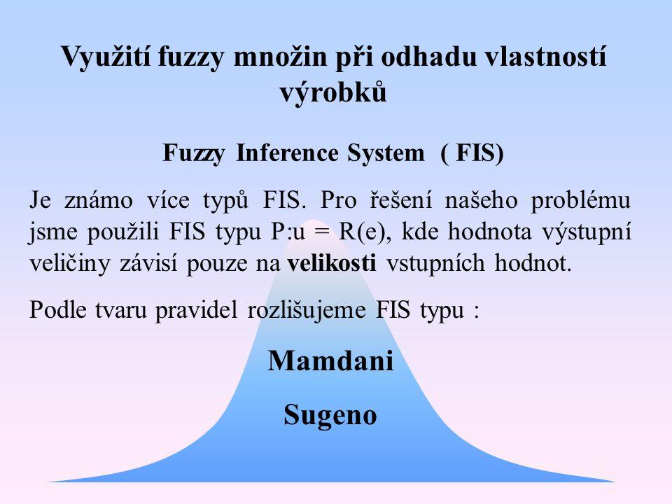 Využití fuzzy množin při odhadu vlastností výrobků Fuzzy Inference System ( FIS) Je známo více typů FIS. Pro řešení našeho problému jsme použili FIS t