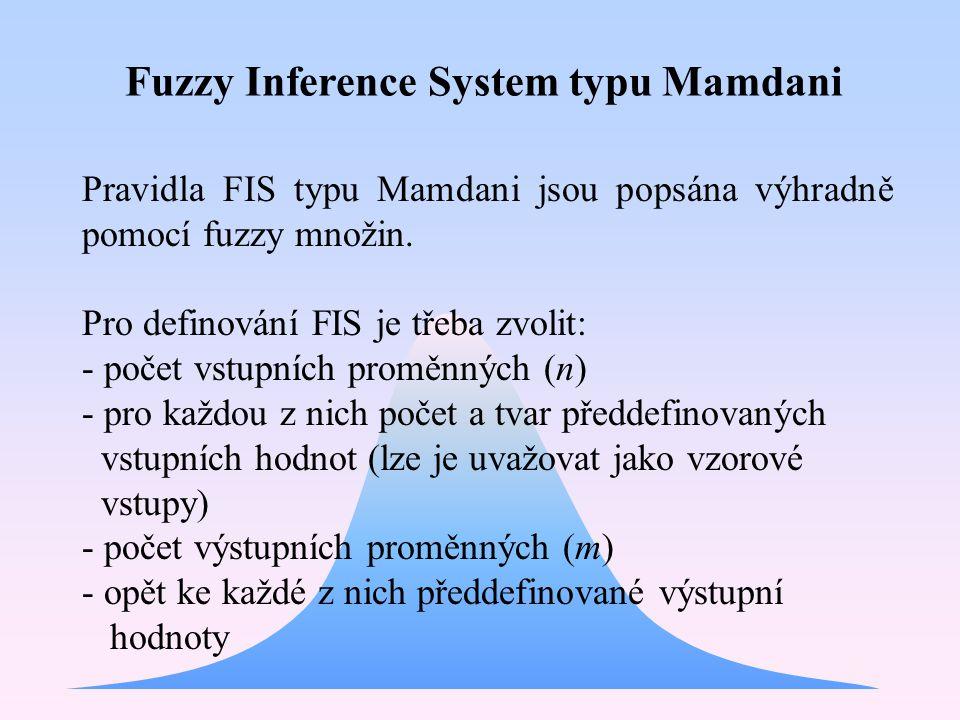 Pravidla FIS typu Mamdani jsou popsána výhradně pomocí fuzzy množin. Pro definování FIS je třeba zvolit: - počet vstupních proměnných (n) - pro každou