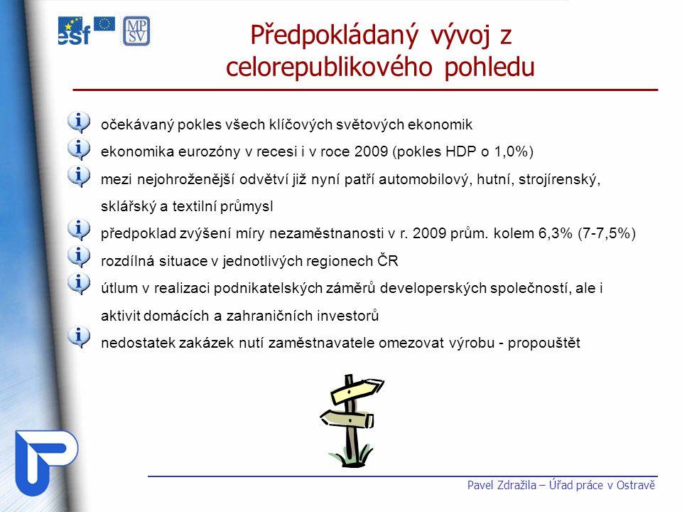 Pavel Zdražila – Úřad práce v Ostravě Předpokládaný vývoj z celorepublikového pohledu očekávaný pokles všech klíčových světových ekonomik ekonomika eu