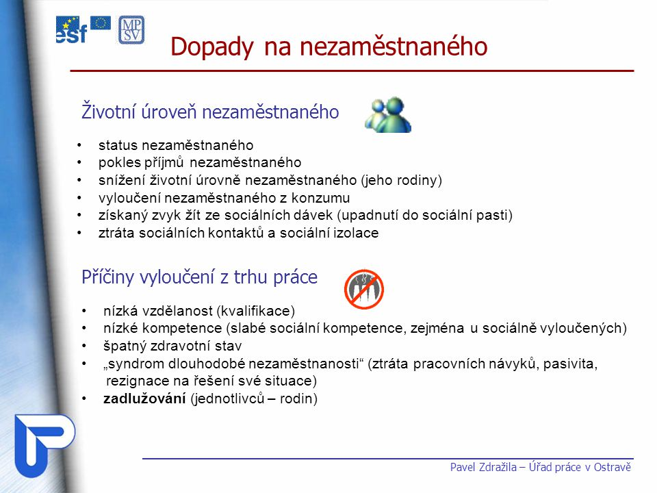 Dopady na nezaměstnaného Pavel Zdražila – Úřad práce v Ostravě • status nezaměstnaného • pokles příjmů nezaměstnaného • snížení životní úrovně nezaměs