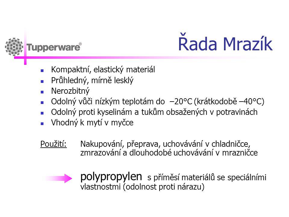 Řada Mrazík  Kompaktní, elastický materiál  Průhledný, mírně lesklý  Nerozbitný  Odolný vůči nízkým teplotám do –20°C (krátkodobě –40°C)  Odolný