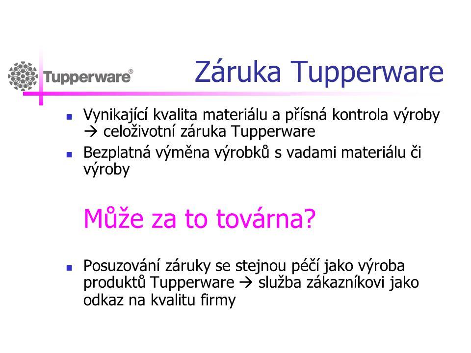 Záruka Tupperware  Vynikající kvalita materiálu a přísná kontrola výroby  celoživotní záruka Tupperware  Bezplatná výměna výrobků s vadami materiál