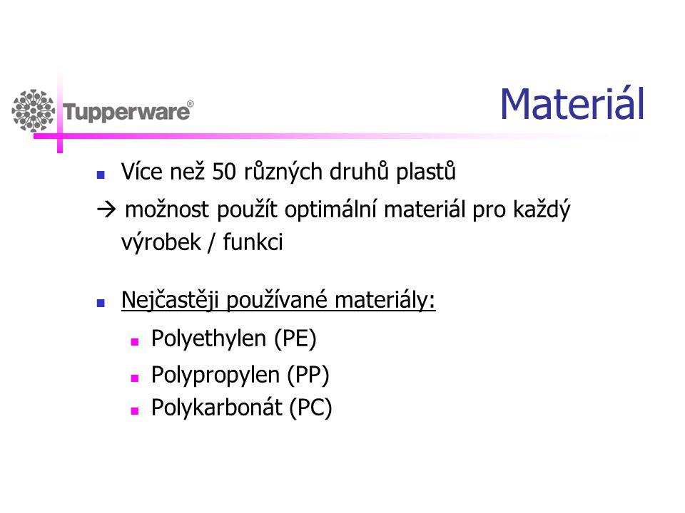 Materiál  Více než 50 různých druhů plastů  možnost použít optimální materiál pro každý výrobek / funkci  Nejčastěji používané materiály:  Polyeth