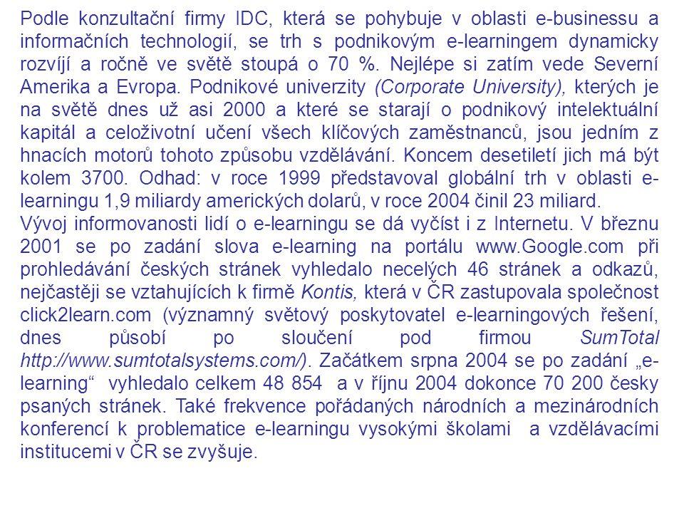 Podle konzultační firmy IDC, která se pohybuje v oblasti e-businessu a informačních technologií, se trh s podnikovým e-learningem dynamicky rozvíjí a