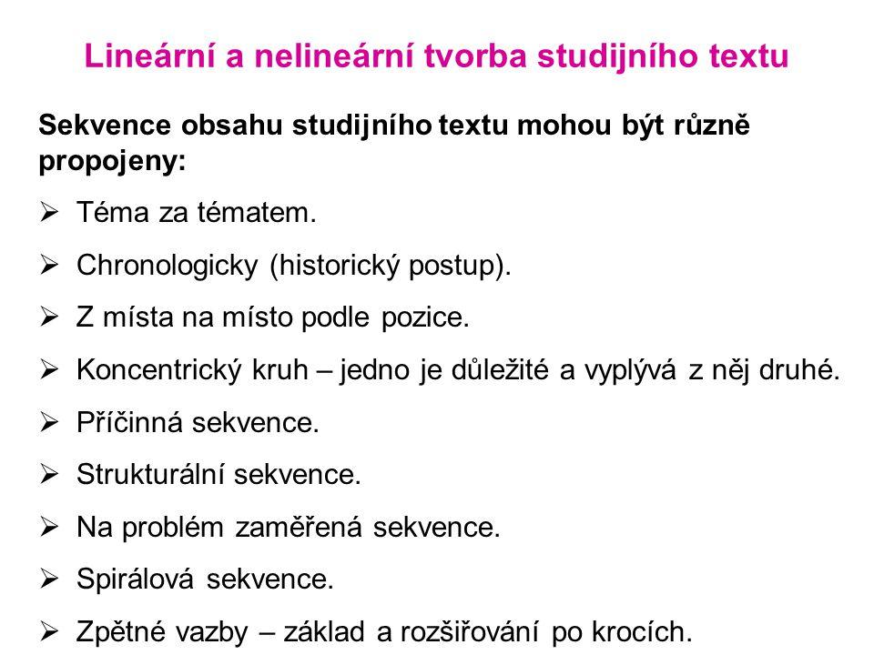 Lineární a nelineární tvorba studijního textu Sekvence obsahu studijního textu mohou být různě propojeny:  Téma za tématem.  Chronologicky (historic