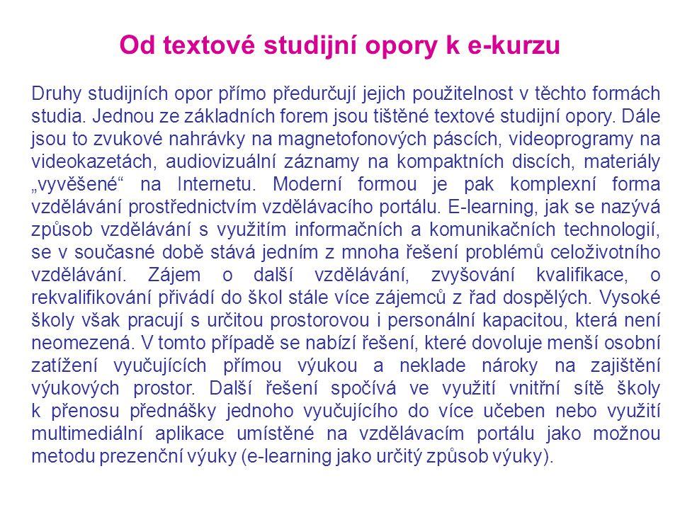Druhy studijních opor přímo předurčují jejich použitelnost v těchto formách studia. Jednou ze základních forem jsou tištěné textové studijní opory. Dá