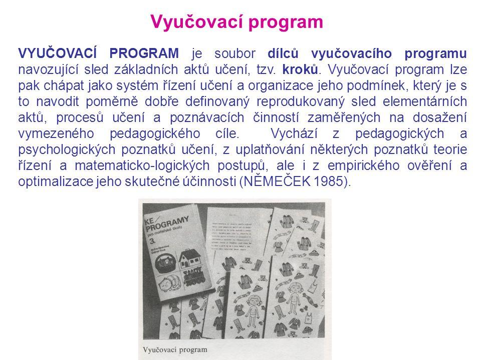 Vyučovací program VYUČOVACÍ PROGRAM je soubor dílců vyučovacího programu navozující sled základních aktů učení, tzv. kroků. Vyučovací program lze pak