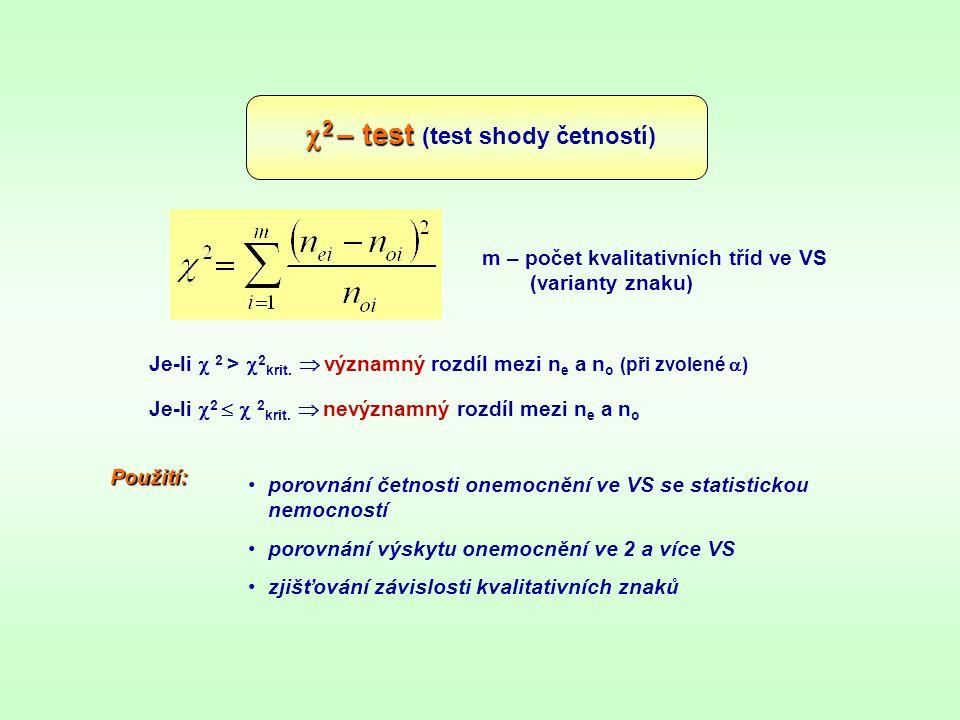  2 – test  2 – test (test shody četností) m – počet kvalitativních tříd ve VS (varianty znaku) Je-li  2 >  2 krit.  významný rozdíl mezi n e a n