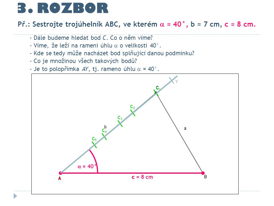 3. ROZBOR - Dále budeme hledat bod C. Co o něm víme? - Víme, že leží na rameni úhlu  o velikosti 40°. - Kde se tedy může nacházet bod splňující danou