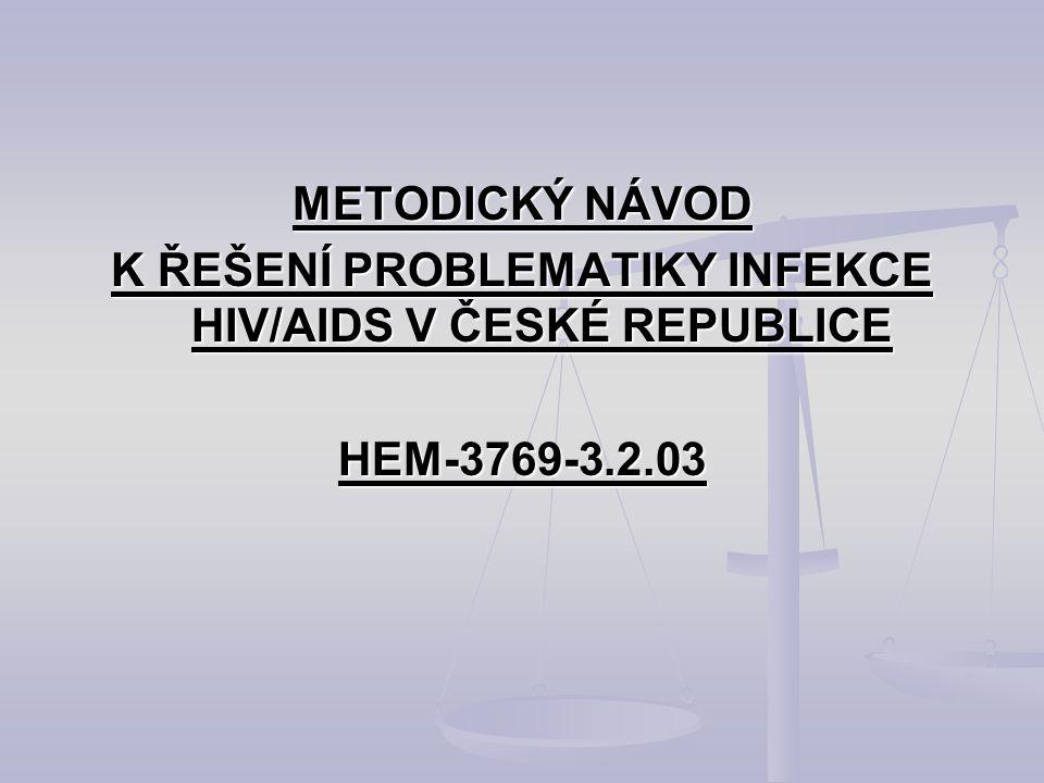 METODICKÝ NÁVOD K ŘEŠENÍ PROBLEMATIKY INFEKCE HIV/AIDS V ČESKÉ REPUBLICE HEM-3769-3.2.03