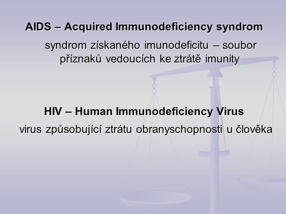 AIDS – Acquired Immunodeficiency syndrom syndrom získaného imunodeficitu – soubor příznaků vedoucích ke ztrátě imunity syndrom získaného imunodeficitu