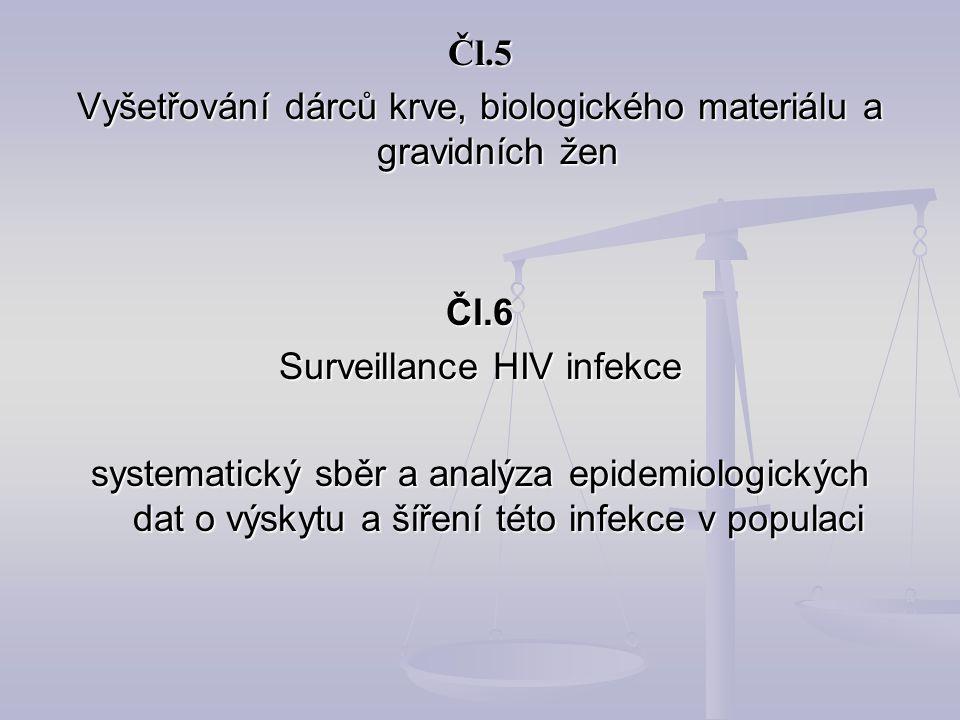 Čl.5 Vyšetřování dárců krve, biologického materiálu a gravidních žen Čl.6 Surveillance HIV infekce systematický sběr a analýza epidemiologických dat o