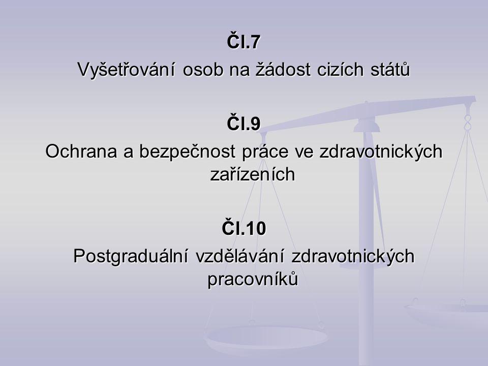 Čl.7 Vyšetřování osob na žádost cizích států Čl.9 Ochrana a bezpečnost práce ve zdravotnických zařízeních Čl.10 Postgraduální vzdělávání zdravotnickýc
