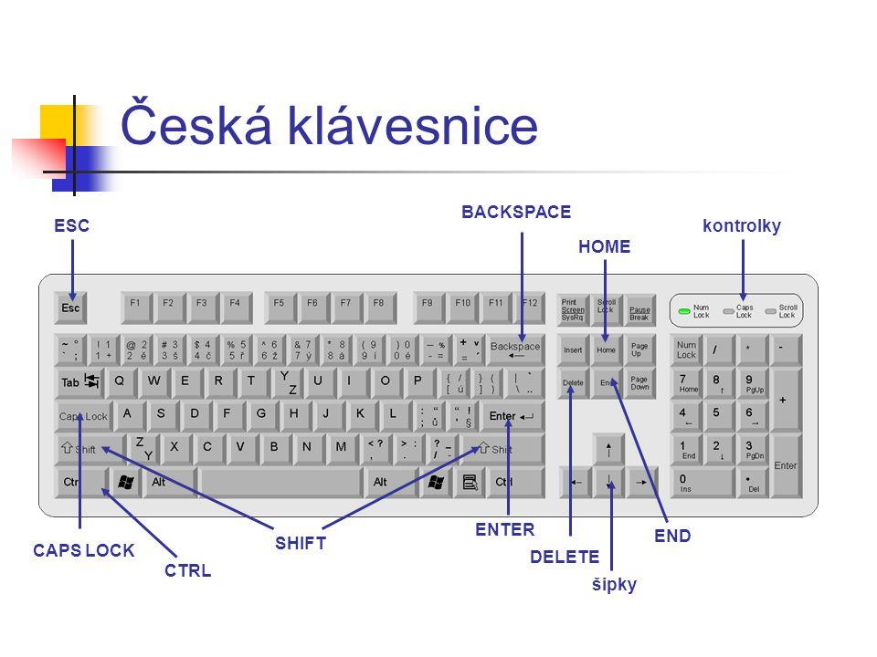 Česká klávesnice ESC BACKSPACE kontrolky ENTER SHIFT HOME šipky END CAPS LOCK DELETE CTRL