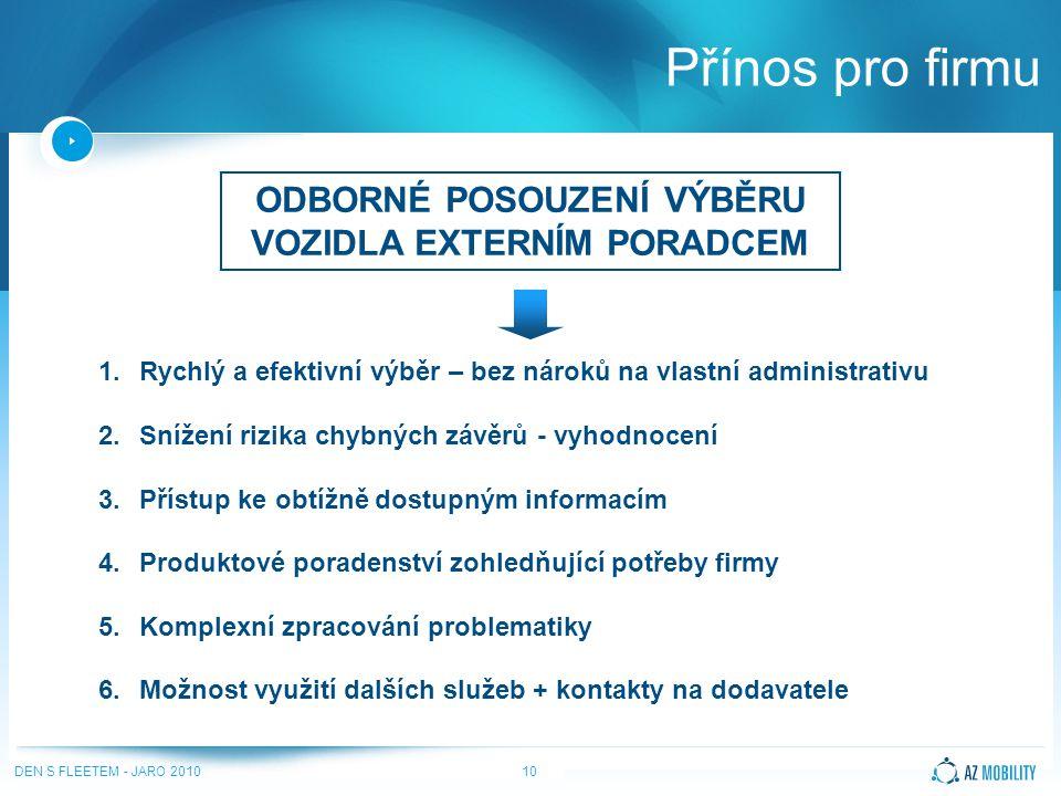 DEN S FLEETEM - JARO 201010 Přínos pro firmu ODBORNÉ POSOUZENÍ VÝBĚRU VOZIDLA EXTERNÍM PORADCEM 1.Rychlý a efektivní výběr – bez nároků na vlastní administrativu 2.Snížení rizika chybných závěrů - vyhodnocení 3.Přístup ke obtížně dostupným informacím 4.Produktové poradenství zohledňující potřeby firmy 5.Komplexní zpracování problematiky 6.Možnost využití dalších služeb + kontakty na dodavatele