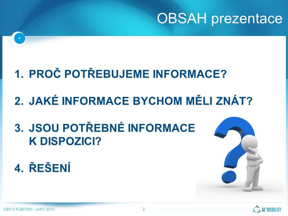 DEN S FLEETEM - JARO 20102 OBSAH prezentace 1.PROČ POTŘEBUJEME INFORMACE.