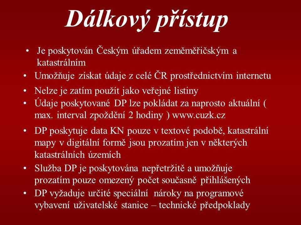 nahlizenidokn.cuzk.cz Textové výstupy poskytované aplikací DP Průběh řízení