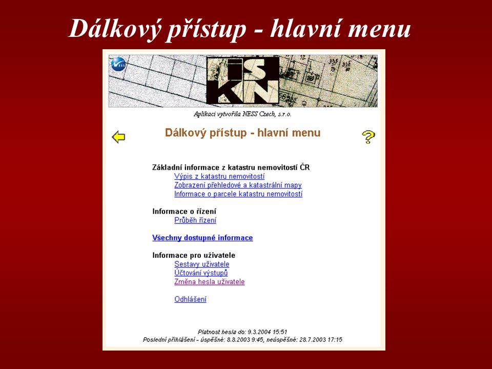 Dálkový přístup - hlavní menu